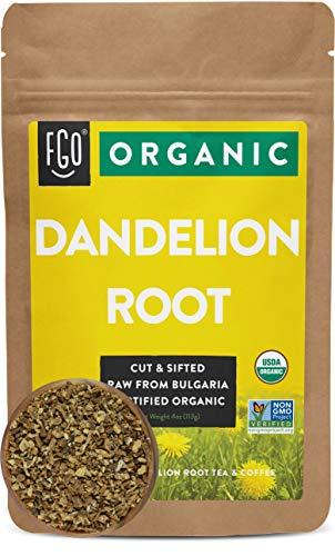 Organic Dandelion Root | Loose Tea (50+ Cups) | 4oz Resealable Kraft Bag | 100% Raw From Bulgaria | by FGO
