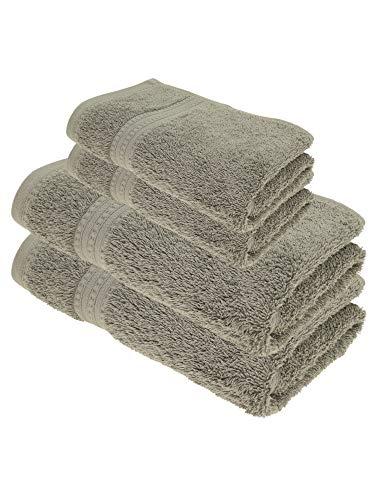 Julie Julsen Juego de toallas de ducha (4 piezas, 2 toallas de ducha, 2 toallas de mano, 100% algodón, 550 g/m²), color gris