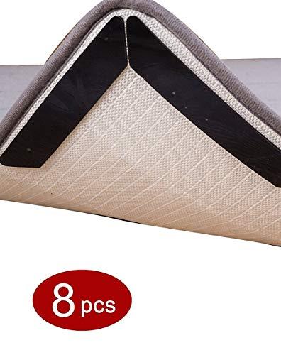 Teppich Gripper Teppichgreifer Antirutschmatte für Teppich, Anti-Rutsch Wiederverwendbare Befestigungsecken, Kräuselfest, Teppich Aufkleber Starke Klebrigkeit, 130x25mm ( Color : Black , Size : 8pcs )