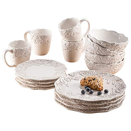 American Atelier Holiday Round Dinnerware Set – 16-Piece Ceramic Party Collection w/ 4 Dinner Salad Plates, 4 Bowls & 4 Mugs –Gift Idea for Special Occasions, White, Bianca Holly