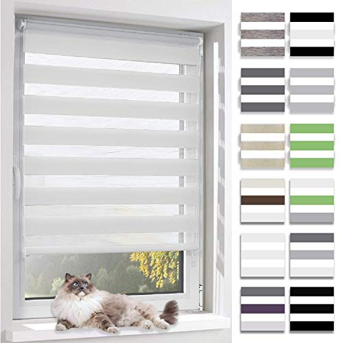 BelleMax Doppelrollo Klemmfix ohne Bohren Duo Rollo Sonnenschutz Rollos für Fenster und Tür, 75x130cm(BxH) Weiss