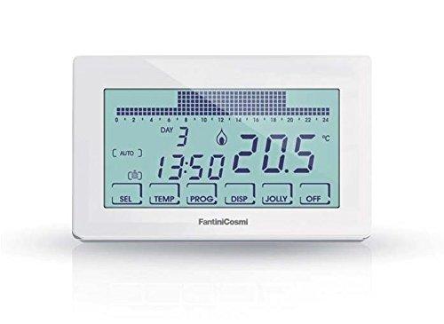 Fantini Cosmi CH180 Cronotermostato Touchscreen Retroilluminato a Batterie, Bianco, 12.8 x 2.4 x 8.2 cm