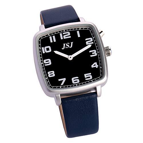 Quadratische Deutsch Sprechende Armbanduhr mit Weckerunktion, Sprachfunktion Uhrzeit und Datum, Schwarz - Ziffernblatt, Blau Lederarmband TGSW-1712G