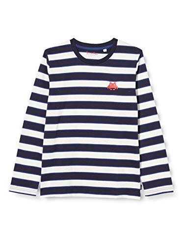 Sanetta Jungen Neptun Lässiges Ringel-Shirt Kidswear mit kleinem Retro-Gaming Artwork uf der Brust, blau, 110
