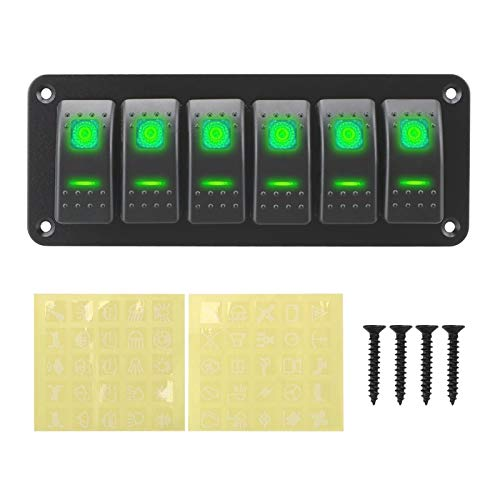 PREPP 12 / 24V 6 Gang Double Light Switch On-Off Rocker Switch Switch LED Toggle Switch Panel Ajuste para la Caravana Marina RV (Color : Green)
