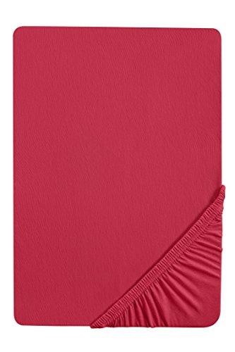 #36 biberna Jersey-Stretch Spannbettlaken, Spannbetttuch, Bettlaken, 90x190 – 100x200 cm, Rubin