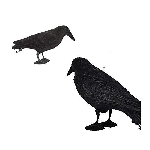 KDKDA Crow Decoy Land Use 2er-Pack Realistische Krähen Extra große handgefertigte schwarze gefiederte Krähe for Halloween-Dekorationen. Vögel werden auch verwendet, um andere Schädlinge zu erschrecken