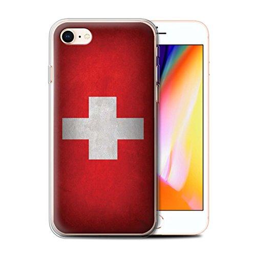 Telefoonhoesje voor Apple iPhone SE 2020 Vlaggen Zwitserland/Zwitsers Ontwerp Transparant Helder Ultra Zachte Flexi Siliconen Gel/TPU Bumper Cover