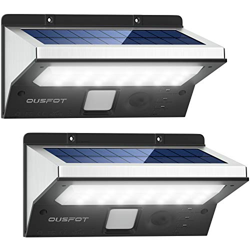 OUSFOT Solarlampen für Außen mit Bewegungsmelder Solarleuchten für Außen 2200mAh 3 Modi Wasserdichte Edelstahl 2 Stück Verpackung MEHRWEG