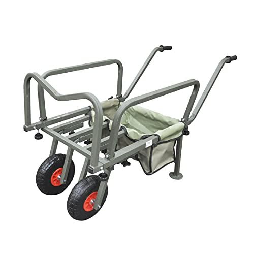 Fishing Trolley Two Wheel Folding Barrow Cart with Bag Adjustable Legs Heavy Duty Collapsible Wheeled Transporter Fish Holder Rod Handle Carry Outdoor