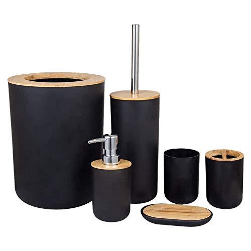 SODIAL 6-Teiliges Bambus Badezimmer Set Bad Zubeh?rset Umweltfreundliches Toilettenzubeh?rset mit Lotionspender Etc.-Schwarz