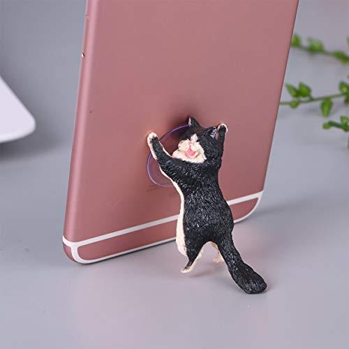 Timetided Soporte Universal para Gato Lindo Soporte para teléfono móvil de Resina Soporte para tabletas con Ventosa Soporte para teléfono Inteligente con diseño de Ventosa para Escritorio