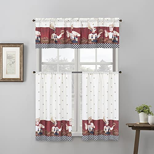"""EHP 3 Piece Printed Kitchen Curtain Set, 1 Valance & 2 Tiers (36"""" Tiers Set, Chef)"""