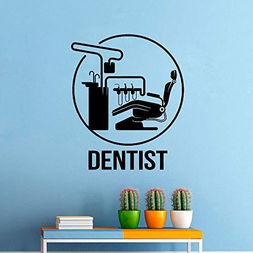 Etiqueta de la pared del dentista clínica dental vinilo adhesivo póster decoración oral centro extraíble logo cuidado dental mural pegatina42x50 cm