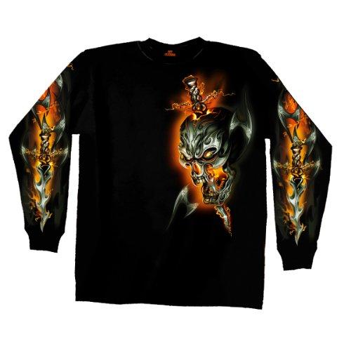 Hot Leathers GMS2068 Biker-T-Shirt mit Totenkopf-Motiv, langärmelig, Schwarz, Größe XXL