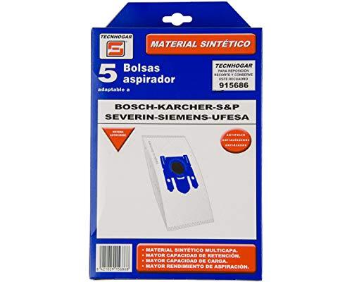 REMLE - Bolsa Aspirador Tecnhogar Blanca - 915686 - Bosch Karcher Ufesa Severin - 5 Unidades
