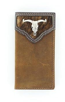 Nocona Boy s Calf Hair Rodeo Steer Head Concho Wallet Medium Brown Distressed OS