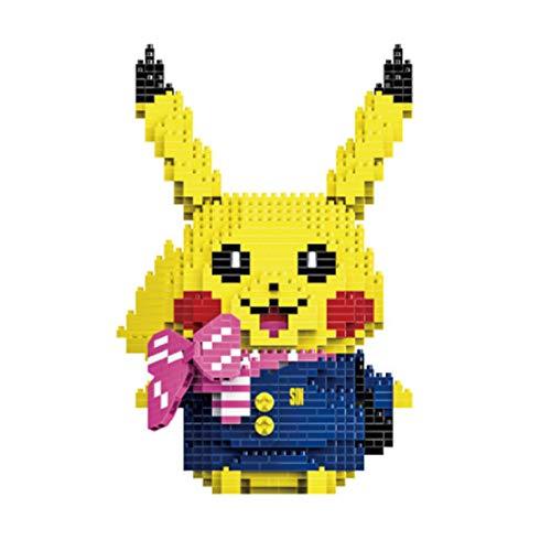 LHANZ Juego de Bloques de construcción Pikachu, pequeñas partículas, Juguetes educativos para niños, ensamblar, Adornos de decoración DIY, Regalo de cumpleaños para niña