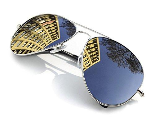 4sold Sonnenbrille in vielen Farbkombinationen Klassische Brille Unisex Sonnenbrille (Silver)
