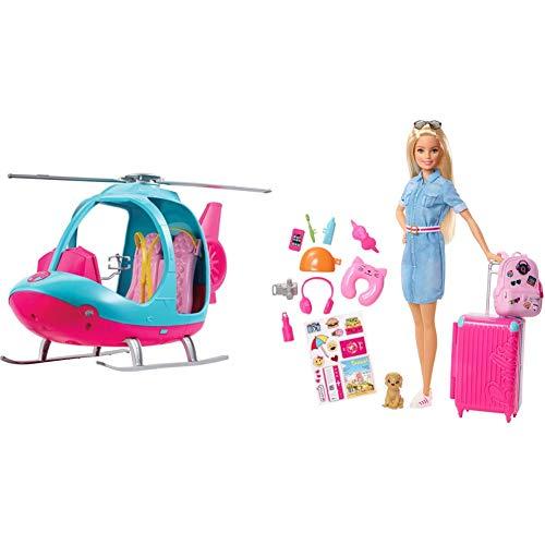 Barbie Exklusives Kombi-Angebot: Barbie FWY29 - Reise Hubschrauber mit Platz für Zwei Puppen + Barbie FWV25 - Reise Puppe mit blonden Haaren