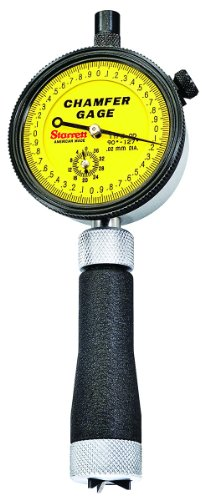 Starrett 686M-1Z Millimeter Reading External Chamfer Gauge With Yellow Dial, 90-127 Degree Angle, 3.2-12.7mm Range