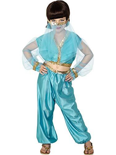 Fancy Ole - Disfraz de Princesa rabe para nia de 1001 Noches con Parte Superior, Pantalones y Diadema para Carnaval, Carnaval y Noche de Ayuntamiento, 122-152, Color Azul