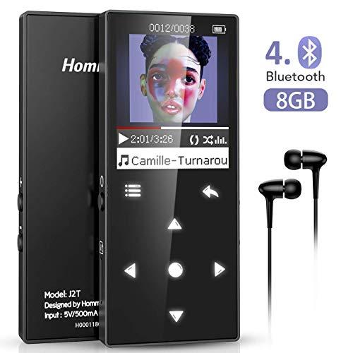 Hommie Lettore Mp3 Bluetooth 4.0 8 GB, HiFi Metallo Lettore Musicale con 7 Pulsanti Tattili, Pulsante Volume Indipendente, Schermo Colorato da 1,8 Pollici con Radio FM, Nero