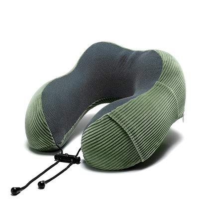 KGDC Travel Pillow 100% Pure Memory Foam Neck Pillow, Comfortable & Breathable Cover, Machine Washable, Airplane Travel Kit,Green