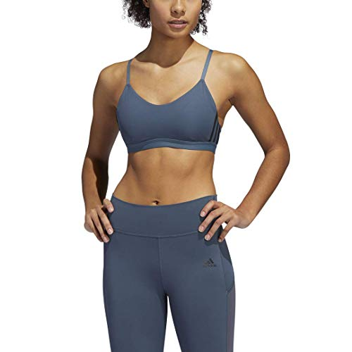 adidas womens All Me 3-Stripes Bra Legacy Blue/Black Large