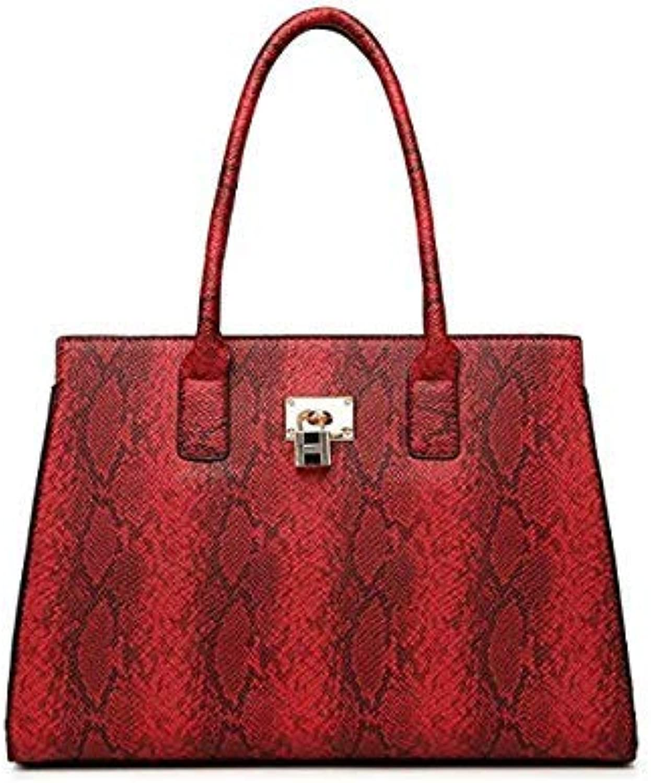 Bloomerang Luxury Brand Snake Bags for Women Luxury Handbags Women Bags Designer Large Capacity Tote Bag hobos Handbag with Lock Key color red 35cmX15cmX25cm