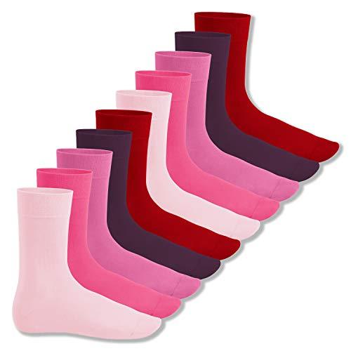 Footstar Herren & Damen Baumwollsocken (10 Paar), Klassische Socken aus Baumwolle - Everyday! - Berrytöne 43-46