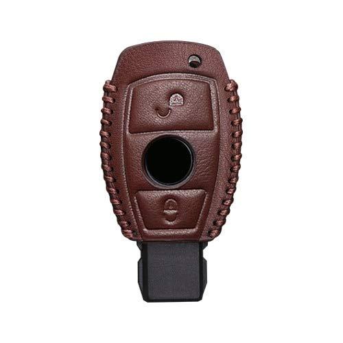 para Benz Cuero Genuino 2 y 3 Botones Funda Inteligente para Llave de Coche para Accesorios Mercedes Benz W203 W210 W211 W124 llaveros Llavero 2 Botones marrón