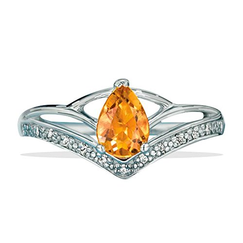 Avon Sterling Silver Genuine Citrine Ring - Silver - Size 10