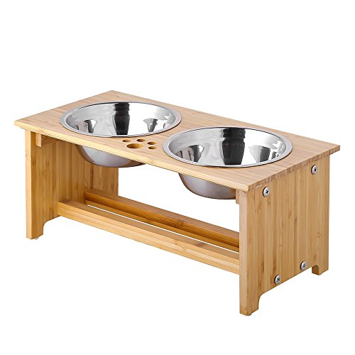 FOREYY Raised Pet Bowls for Small and Medium Dogs, Bamboo Elevated Dog Cat Food and Water Bowls Stand Feeder with 2 Stainless Steel Bowls and Anti Slip Feet (New 7'' Tall)