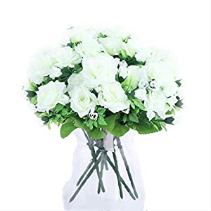 DSWJH Artificial Flower Heads Wedding Vivid Fresh Silk Artificial Flowers,Hibiscus Roses Bride Home Decorative Party Decor Gifts