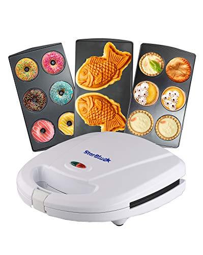 Mini-Donuts Maker, Mini-Pie and Quiche Maker, Taiyaki Maker – 3 in 1 Three Slices Detachable Dessert Maker by StarBlue, Wonderfully non-stick Plates, Cool-Touch Dessert Factory – White AC 110-120V 50/60Hz 700-800W