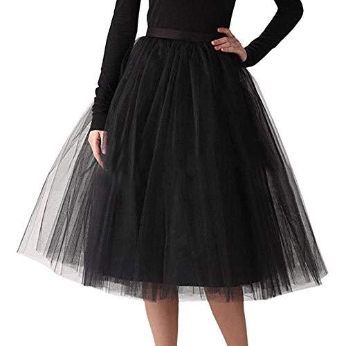 VJGOAL Moda Casual de Las Mujeres Color sólido Gasa Plisada hasta la Rodilla Falda de Tul Elástico de la Cintura Tutu Princesa Falda(Un tamaño,Negro)