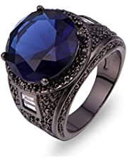 Men black ring with blue sapphire gemstone size 7
