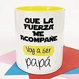 La Mente es Maravillosa - Taza con frase y dibujo divertido (Que la fuerza me acompañe, voy a ser papá) Regalo original para PAPÁ