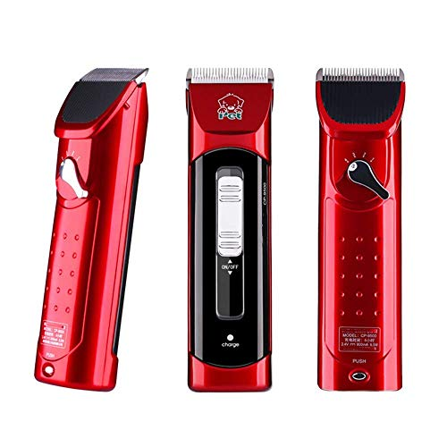 Pet Dog Clipper Machine Grooming Kit Pet Hair Trimmer Animals Grooming Clippers Professional Shaver Dog Cat Electric Hair Cutter with Comb Guides Low Noise 4 Speeds Red