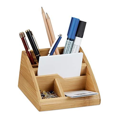 Relaxdays Schreibtisch Organizer Bambus, Stiftehalter Holz, Stiftebox Schreibtisch, Büro, HxBxT: 9 x 13 x 16 cm, natur