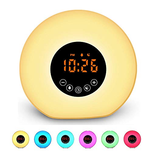 Despertador Digital Bluetooth Wake-Up Alarm Sunrise Wake-Up Light Puede Ser Una Pequeña Luz Nocturna Smart Alarm Light Atmósfera Light Cambio De Color Electronic Alarm Clock