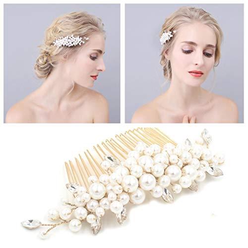 Mariée Cheveux Peigne Clip Broche Strass Perle De Mariage Accessoires pour La Mariée Demoiselle d'honneur, Vintage Pearl Bun Party De Mariage, Argent