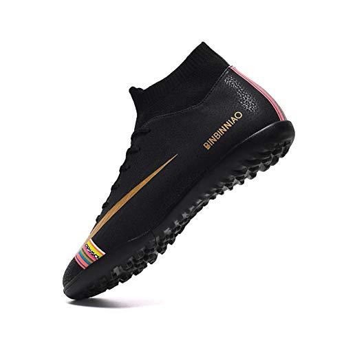 2019 High Top Zapatillas De Fútbol Hombre Profesionales Botas De Fútbol Aire Libre Atletismo Zapatos De Entrenamiento De Fútbol Blanco Y Negro Césped Zapatos Con Tachuelas35-45EU