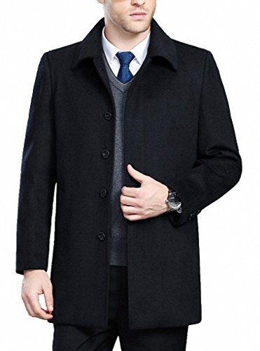 FASHINTY Men's Classical Bussiness Style Turndown Collar Wool Coat #00237 Black S