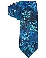 Men's Fashion tie Watercolor Blue Sea Turtle Necktie One Size Neck Tie