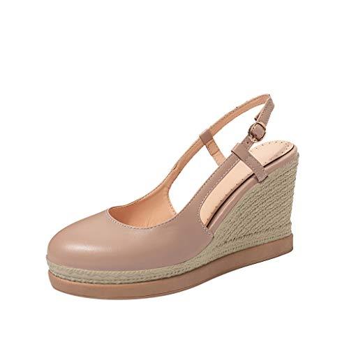Sommer Neu! Frauen Einfarbig Runde Keil Sandalen Mit Schnalle, Damen Mode High-Heel Party Schuh Arbeitsschuh