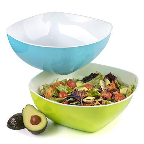 Große Salatschüssel Kunststoff, Schüssel für Pasta oder als Servierschalen 4.2 l - 2er Set