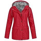 JPLZi Long Hooded Jacket Women Fall Solid Rain Jacket Outdoor Raincoat Windproof Waterproof Trench Coat Travel Jackets Red