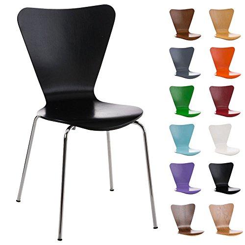 CLP Konferenzstuhl Calisto mit Holzsitz und stabilem Metallgestell I Platzsparender Stuhl mit Einer Sitzhöhe von: 45 cm Schwarz